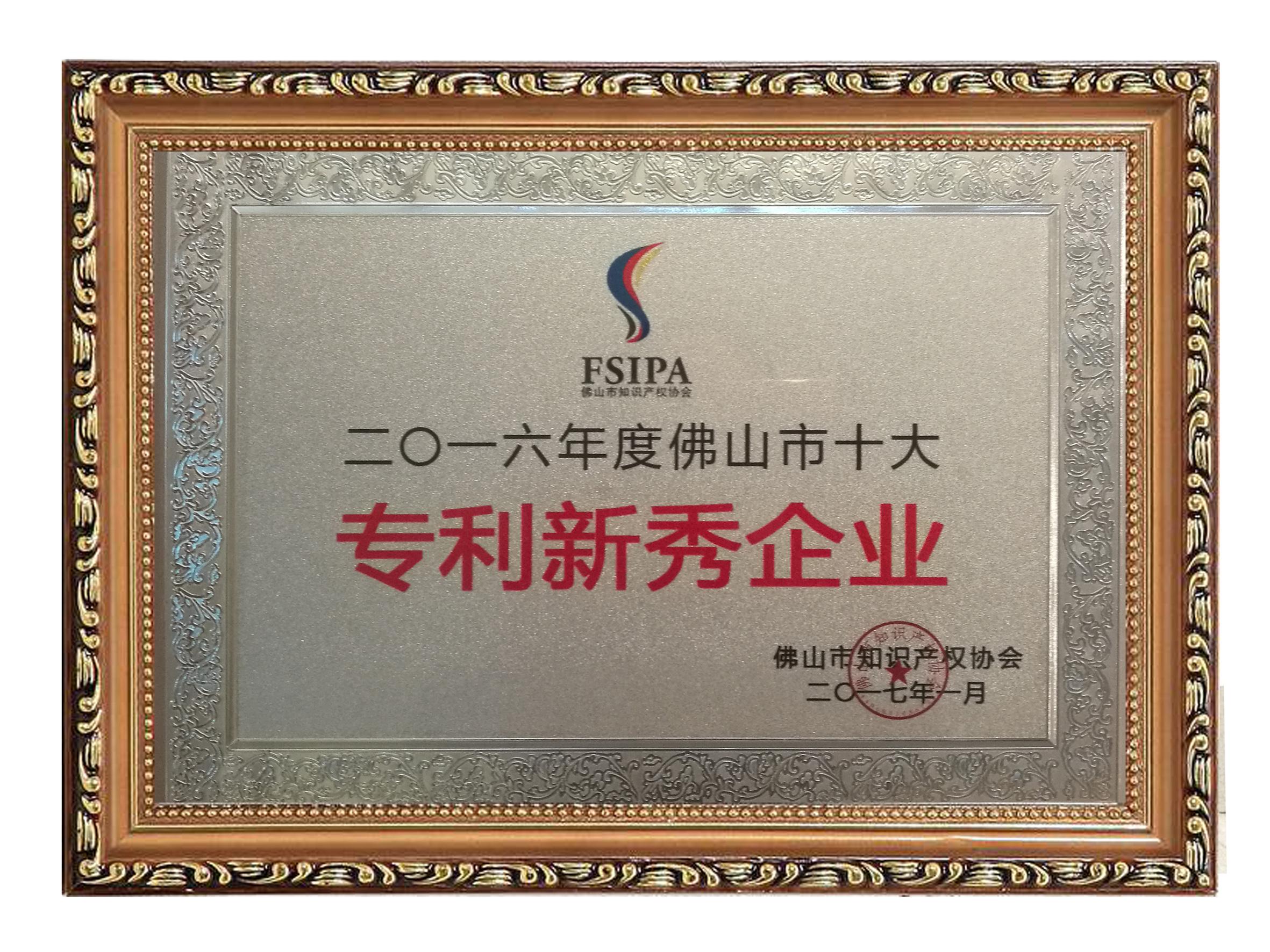 2017佛山市十大专利新秀企业-牌匾
