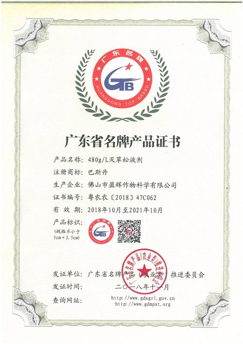 广东省名牌产品巴斯丹2018